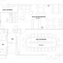 plan d'aménagement projet 01 salle de réunion et salle de restauration