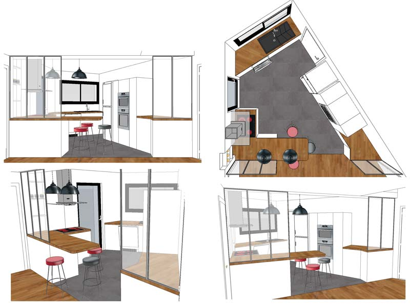 int rieur av cuisine avec verri re escalier dessin par interieur av. Black Bedroom Furniture Sets. Home Design Ideas